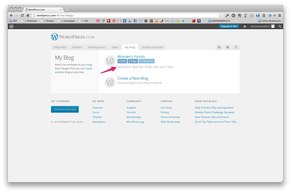 Wordpress Dashboard Link