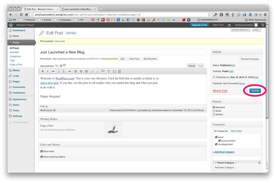 Wordpress - Publish Post