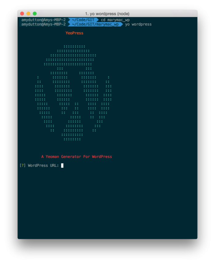 Running yo wordpress within the Terminal