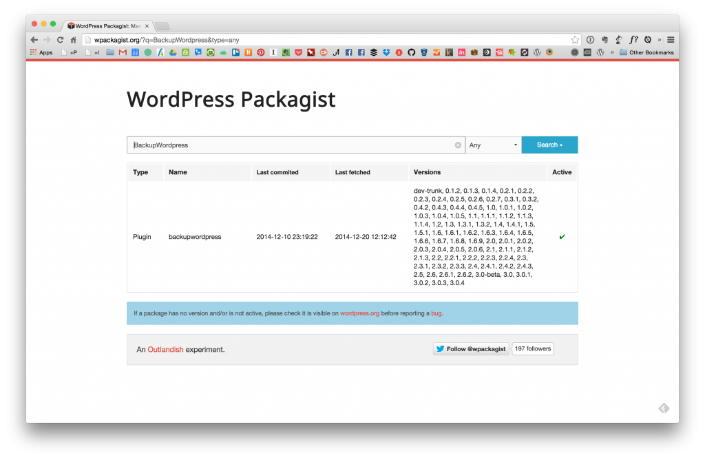 Backup WordPress on  WP Packegist