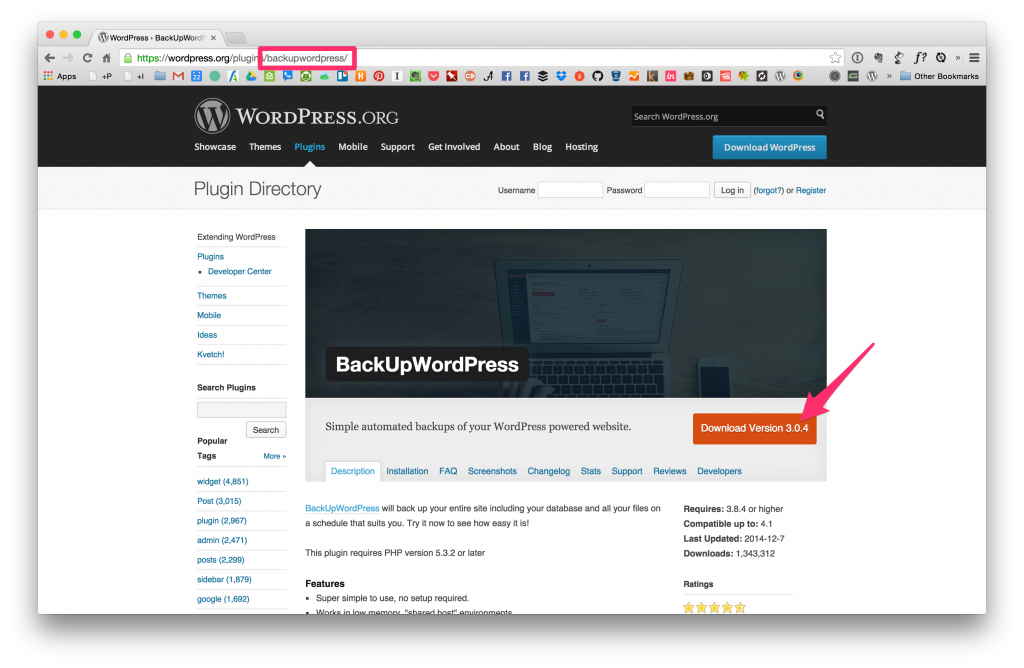 Backup WordPress on WordPress.org