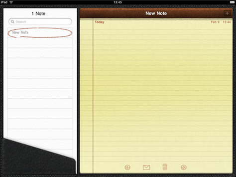 Notepad on the iPad