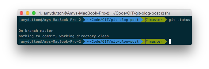 current branch by running git status