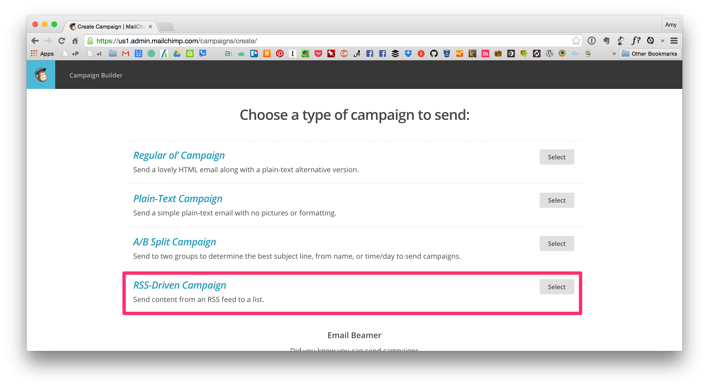 Choose a Type of Campaign within MailChimp