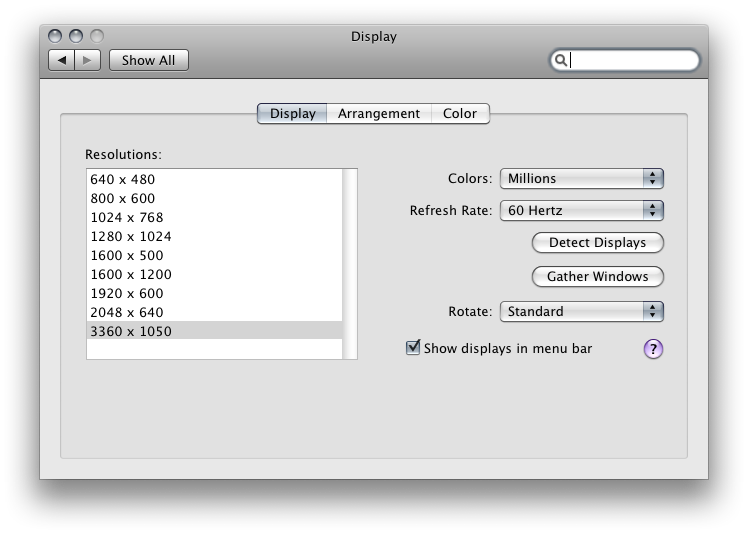 Display Preferences on System Preferences