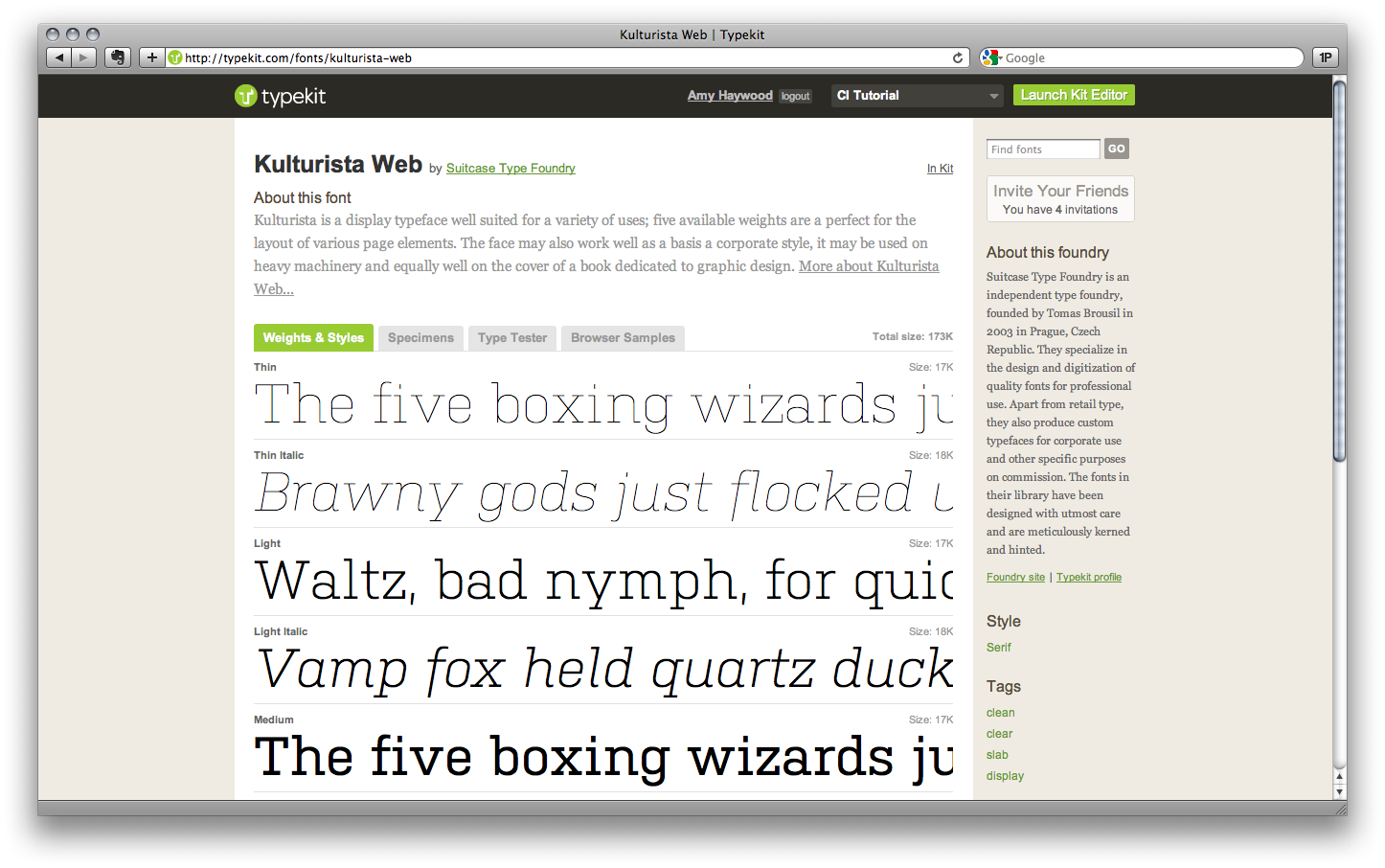 Typekit Screenshot