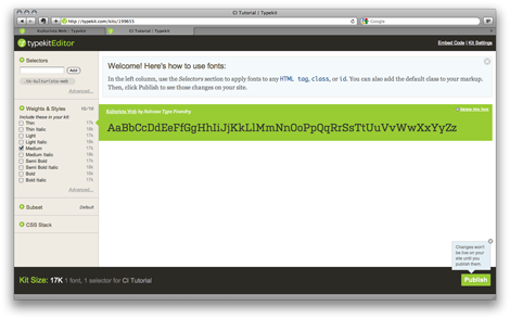 Typekit Kit Editor Screenshot