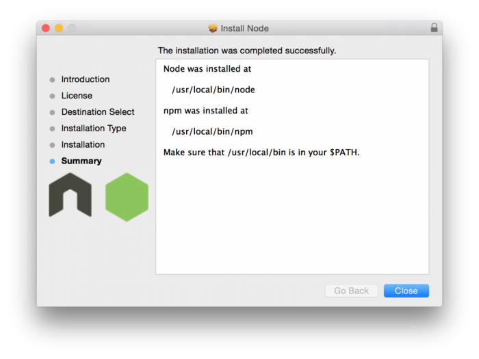 Node successfully installed!