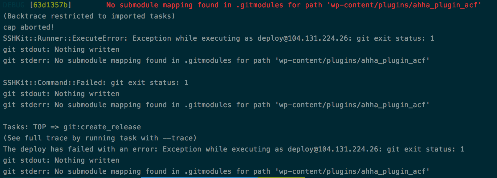 No Submodule Mapping Found