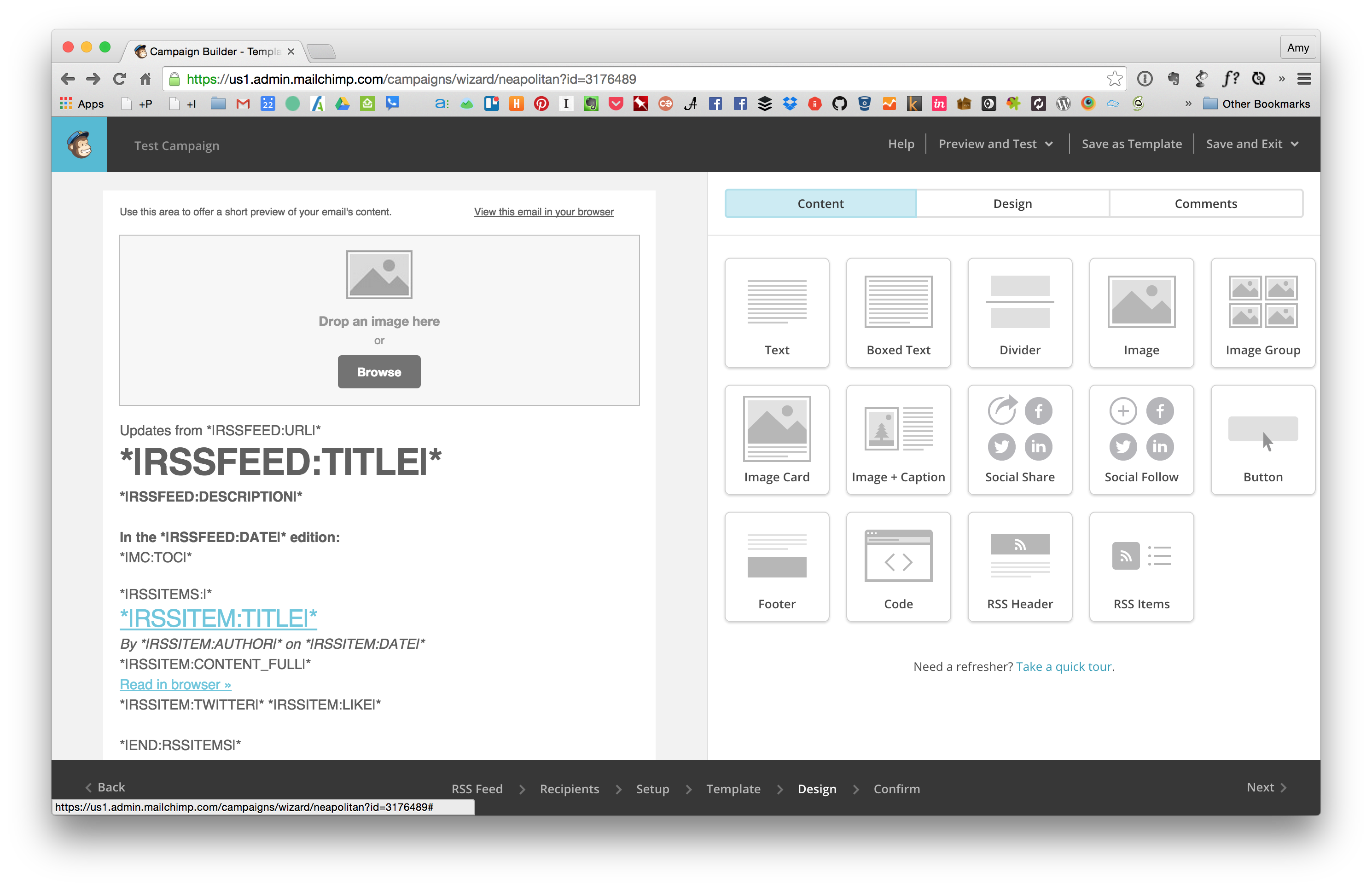 Modify the MailChimp Design Template
